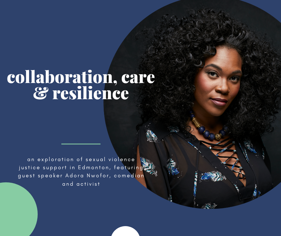 Collaboration, Care And Resilience Event Poster Featuring Image Of Speaker Adora Nwofor