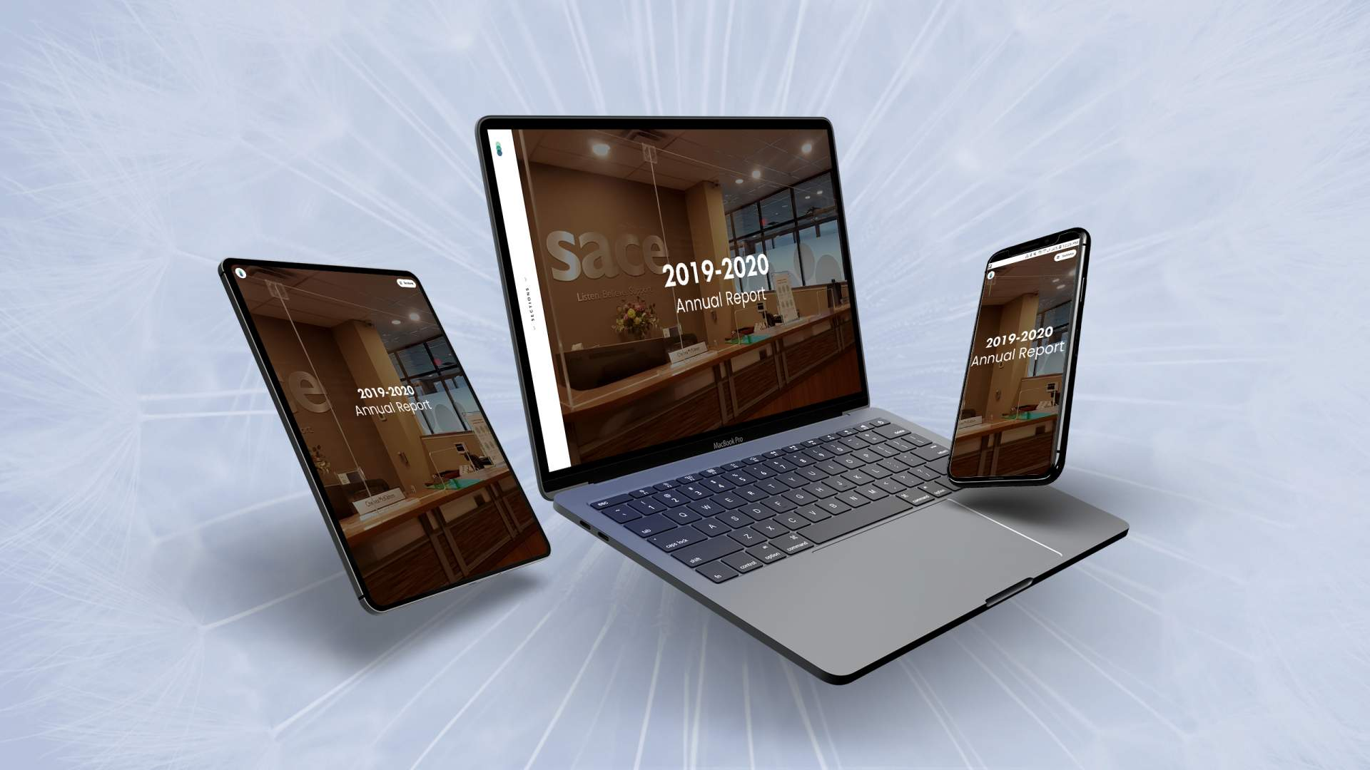 Display Of SACE Annual Report On Laptop, Tablet, And Smart Phone