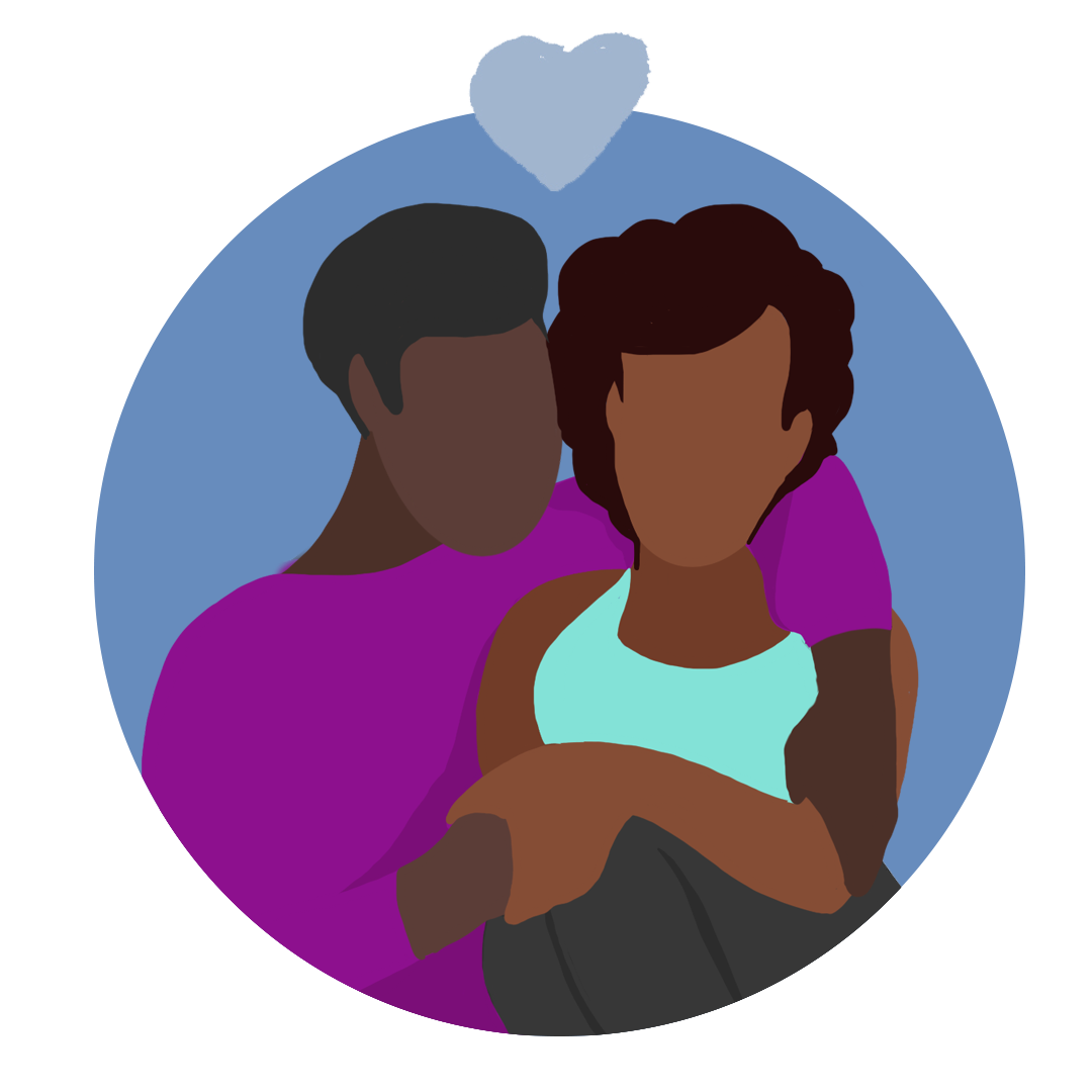 Colourful illustration of a couple holding each other with a heart above them