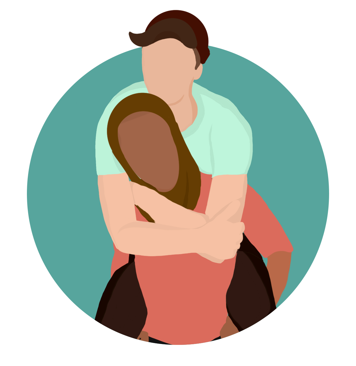 Colourful illustration of two people, one person has their arms hugging the other from behind
