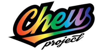 Rainbow colour Chew project logo outlined in black