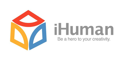 """iHuman logo with """"Be a hero to your creativity."""" tagline"""